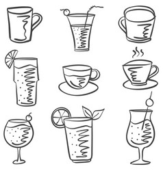 collection stock drink doodle set vector image vector image