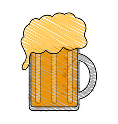 Color drawing pencil cartoon beer jar glass with vector