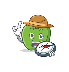 Explorer green apple character cartoon vector