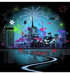 fireworks in the city vector image vector image