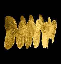 Gold paint spiral wave smear stroke stain on black vector