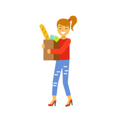 Happy woman carrying a brown shopping bag with vector