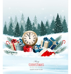Holiday background with presents vector