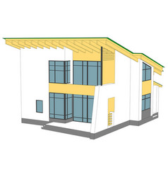House with green roof vector