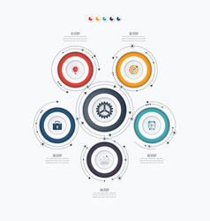 Infographics template 5 options with circle vector