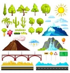 Landscape constructor elements set vector