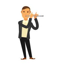 Man in suit playing flute vector
