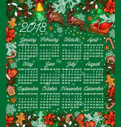 Merry christmas sketch 2018 calendar vector