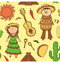 Mexican culture seamless pattern vector image