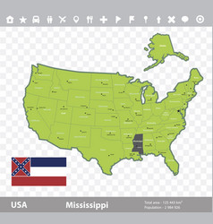 Mississippi flag and map vector
