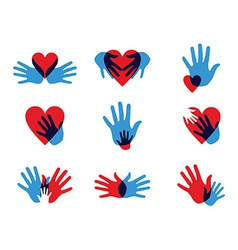 Multicolor diversity hands icons vector image vector image