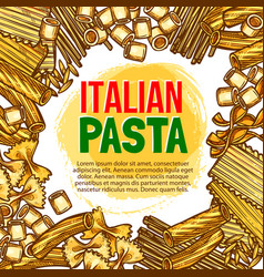 Pasta and italian macaroni sketch poster vector