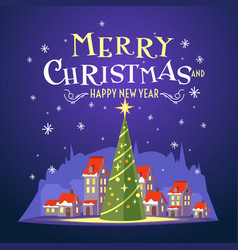 postcard merry christmas with a beautiful vector image vector image