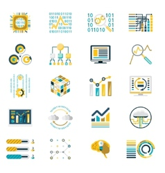 Processing Storage of Large Data Volume Icons vector image
