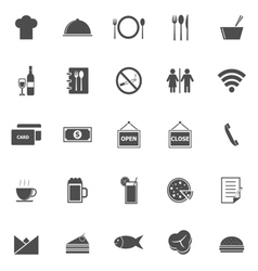 Restaurant icons on white background vector image vector image