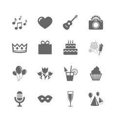 Set of celebration birthday and party icons vector