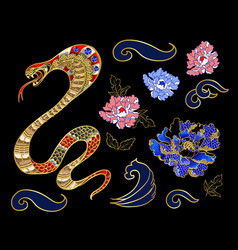 set of elements snake and peony patch vector image vector image