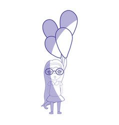 Silhouette pretty girl with hairstyle and balloons vector