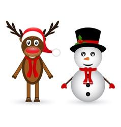 Snowman and reindeer vector image vector image