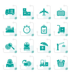 stylized cargo shipping and logistic icons vector image vector image