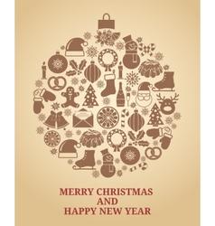 Vintage Christmas tree symbol vector image