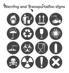 Warning and Transportation icons vector image vector image