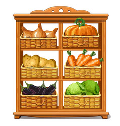 Wooden cabinet with baskets and vegetables vector