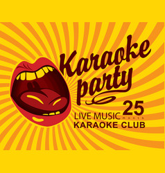 yellow banner for club with mouth singing karaoke vector image vector image
