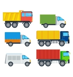 Trucks cartoon models collection vector
