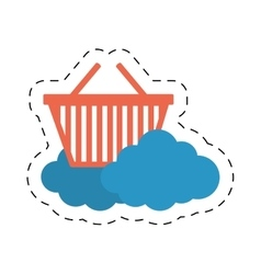 Cloud basket shop market online cut line vector