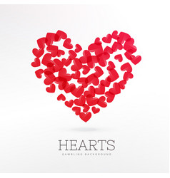 Red hearts casino game background vector
