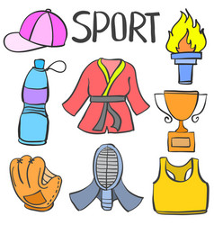 Collection of object sport equipment doodle vector