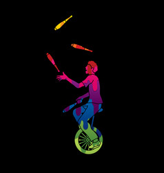 A man juggling pins while cycling vector