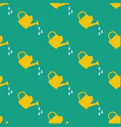 Watering can seamless pattern vector