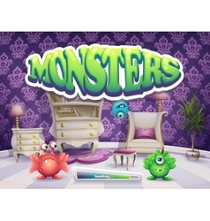 Example of loading screen for the game monsters vector