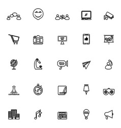 Media marketing line icons on white background vector