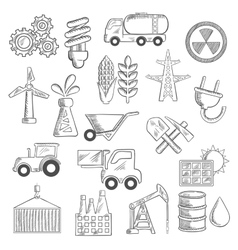 Industry and ecology objects sketches vector