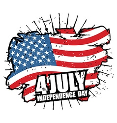 Independence day of america usa flag grunge style vector
