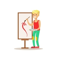 Boy painting creative child practicing arts in vector