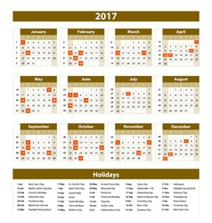 Calendar 2017 set 12 month on brown background vector