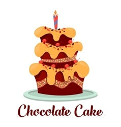 Candle on top of birthday cake with cream vector