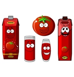 Cartoon tomato vegetable and juice packs vector image vector image