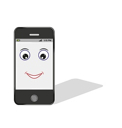 Comic smartphone with eye and smile vector