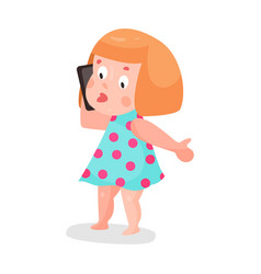 Cute cartoon little girl in in a light blue dress vector