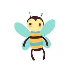 Cute funny bee soft plush toy stuffed cartoon vector