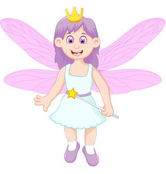 cute little fairy girl cartoon vector image vector image