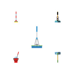 Flat icon cleaner set of broom sweep besom and vector