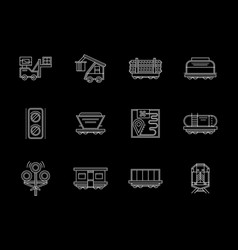 Flat white line icons set for railroad vector