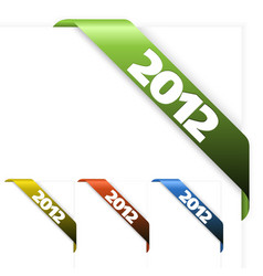 fresh corner ribbon on a white paper with 2012 vector image vector image