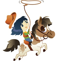 Girl on Small Horse with lasso vector image vector image